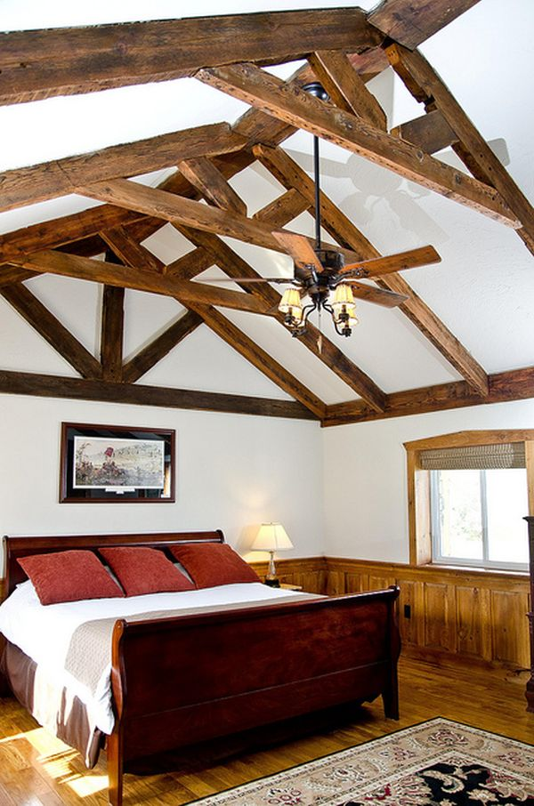 How to incorporate ceiling beams into your style for Vaulted ceiling with exposed trusses
