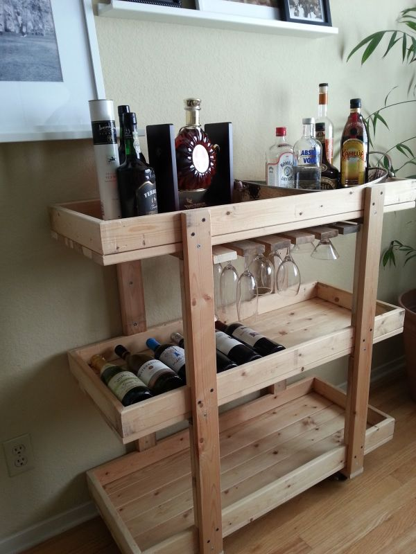 wood bar cart diy