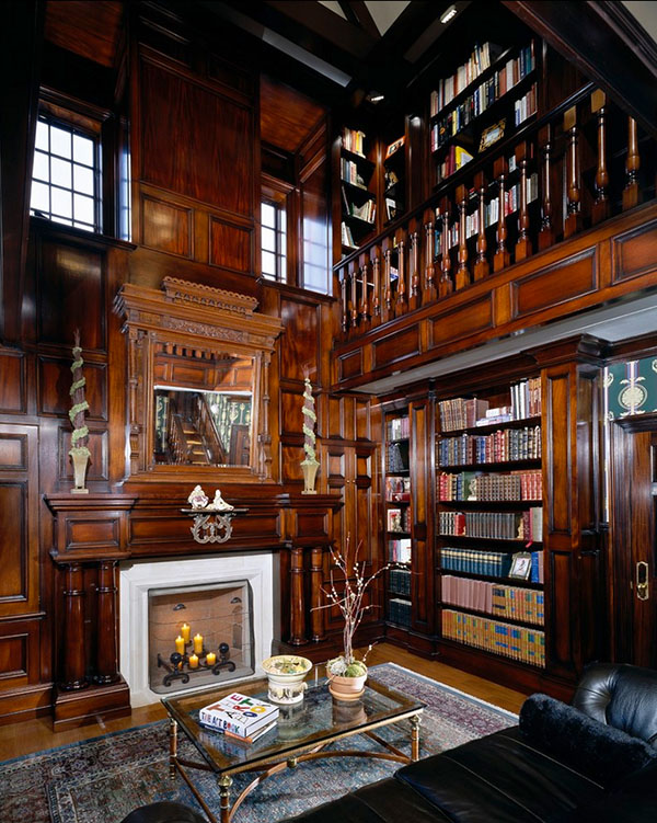 Have high ceilings? Use a ladder. View in gallery Traditional home library  ...