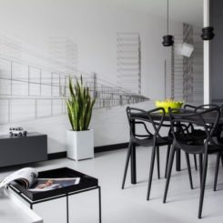 Black And White Décor Brought Together By Bits Of Yellow