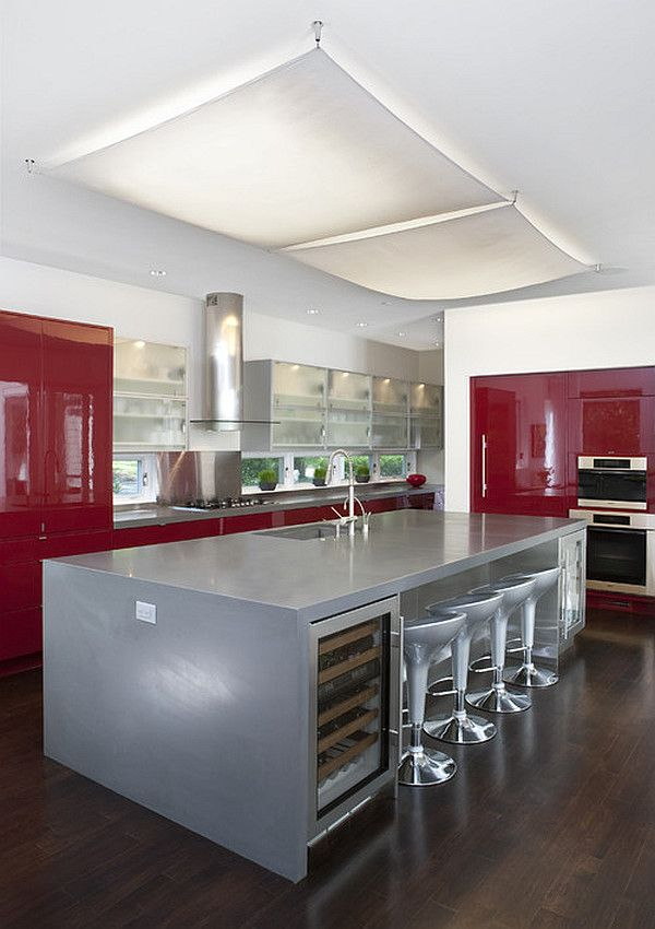 Silver Kitchens Ideas Inspiration - Gray and red kitchen ideas