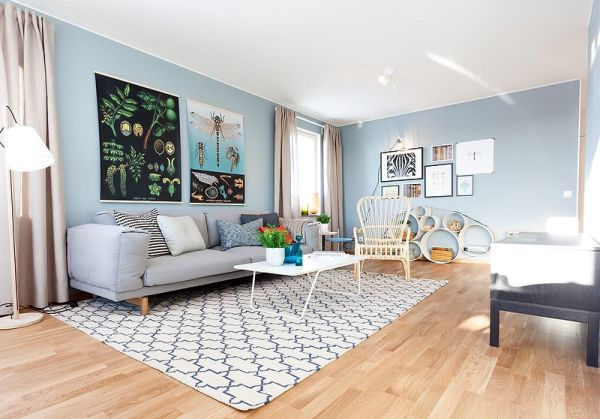 Dipped In Water Monochromatic Rooms. Light Blue Paint Colors For Living Room  ...