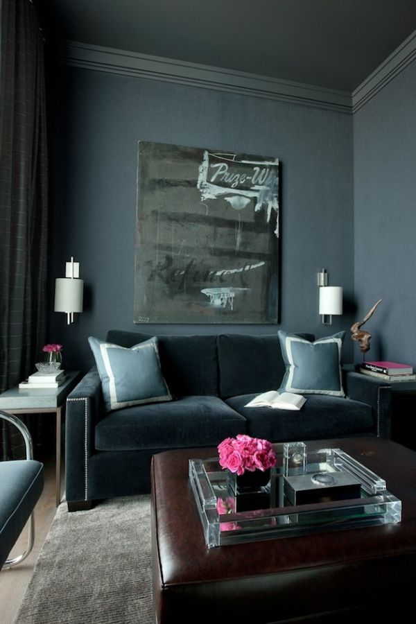 surprising black grey living room ideas | Don't Be Afraid Incorporating Dark Walls Into Your Home ...