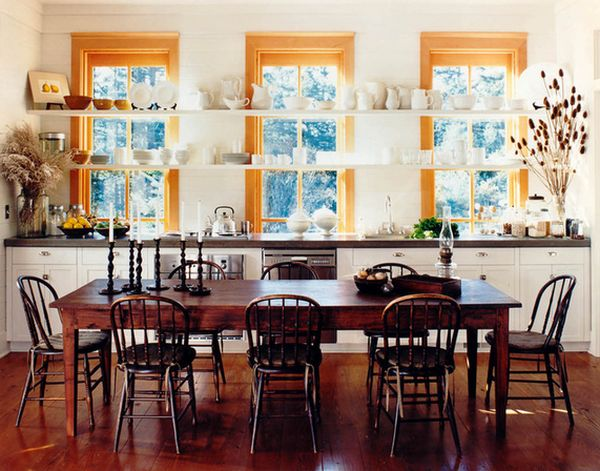 Be sentimental and have a farmhouse kitchen table in your home a rustic table with a dark finish and matching chairs workwithnaturefo
