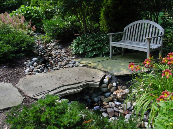 garden bridges made of boulders and stone