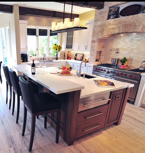 10 ways to revamp your kitchen island for Dining table overhang