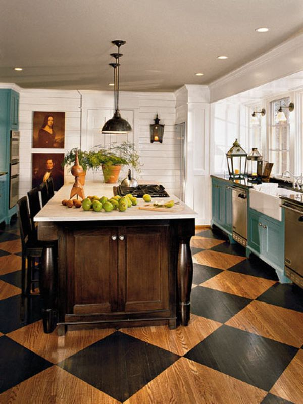 Kitchen tile flooring designs Cabinets The Appeal Of Checkerboard Floors