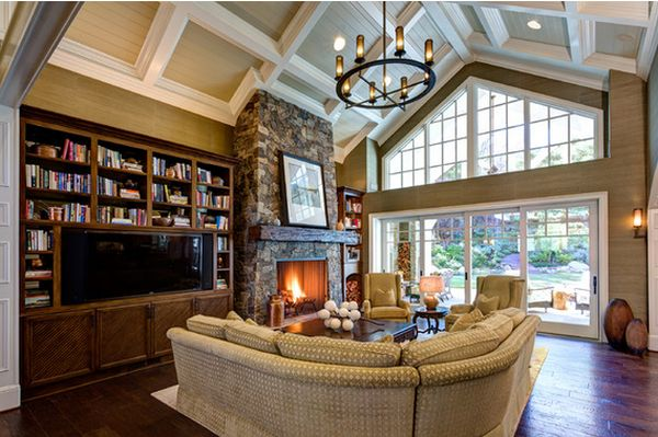 Beautiful vaulted ceiling designs that raise the bar in style for Coffered ceiling paint ideas