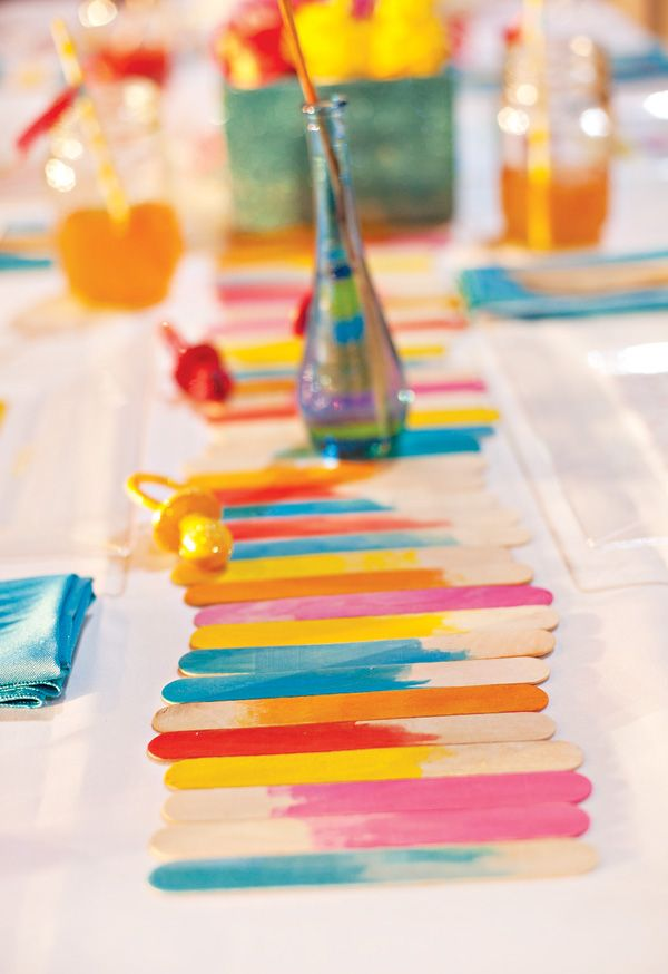 popsicle stick table runners - Diy Party Table Decorations