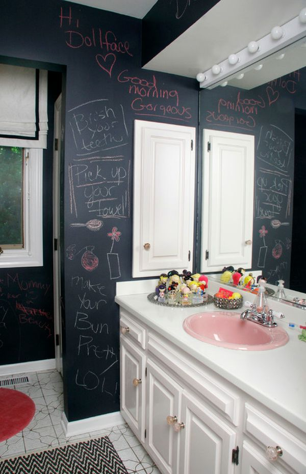 How to creatively use chalkboard paint around the house for Teen girl bathroom ideas