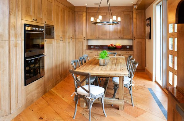 a farmhouse kitchen table can also complement a modern kitchen