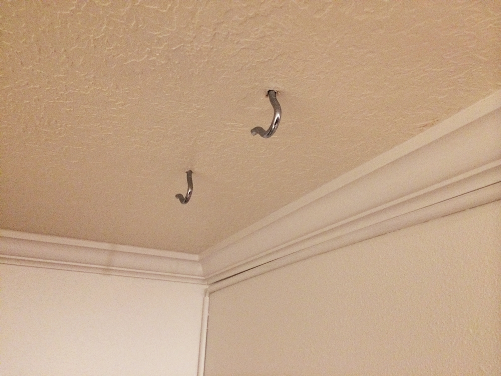 Step  Screw Four Screw Hooks Into Ceiling