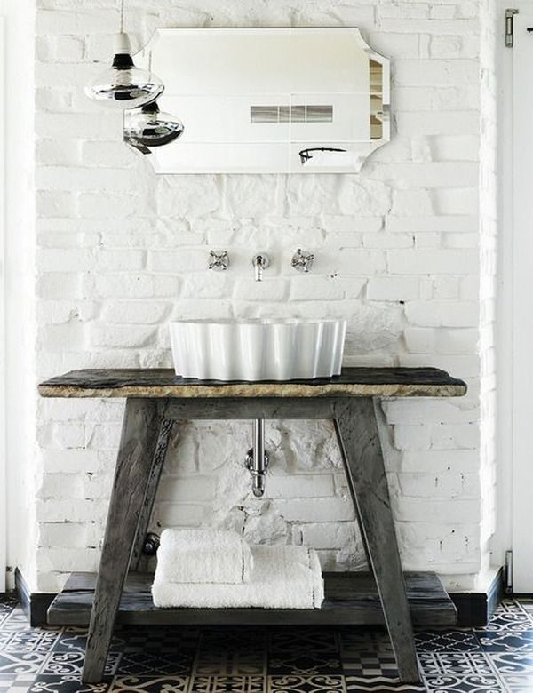 White Brick Walls In The Bathroom.