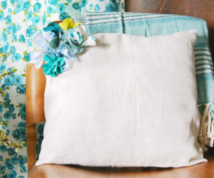 DIY Embellished Fabric Flower Pillow
