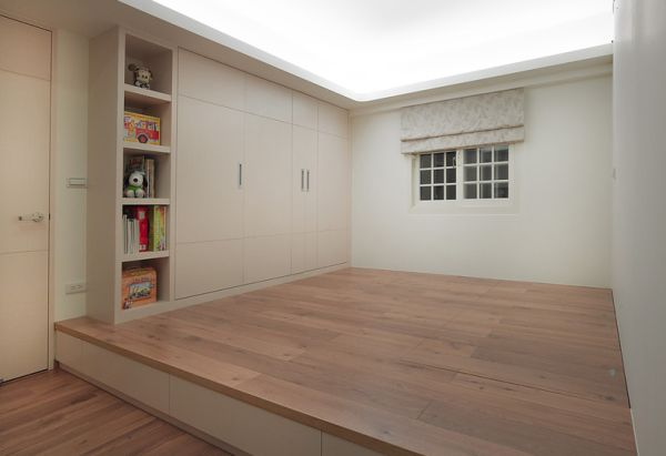 floor featuring drawers and hidden storage