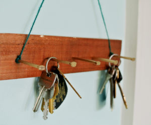DIY Gilded Square Nail Key Hook Rack For Wall