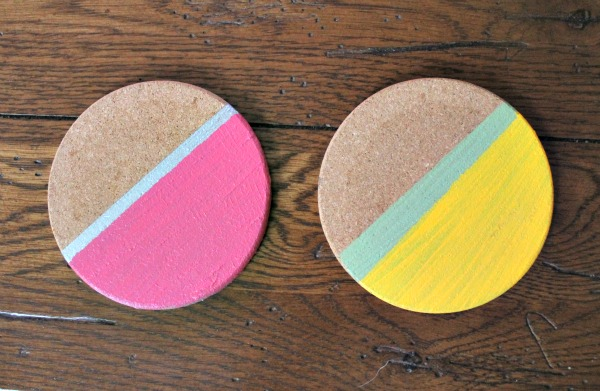 painted striped coasters