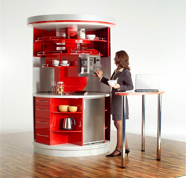 Compact Kitchen Designs For Small Spaces Everything You  : red mini kitchen from www.homedit.com size 600 x 575 jpeg 270kB