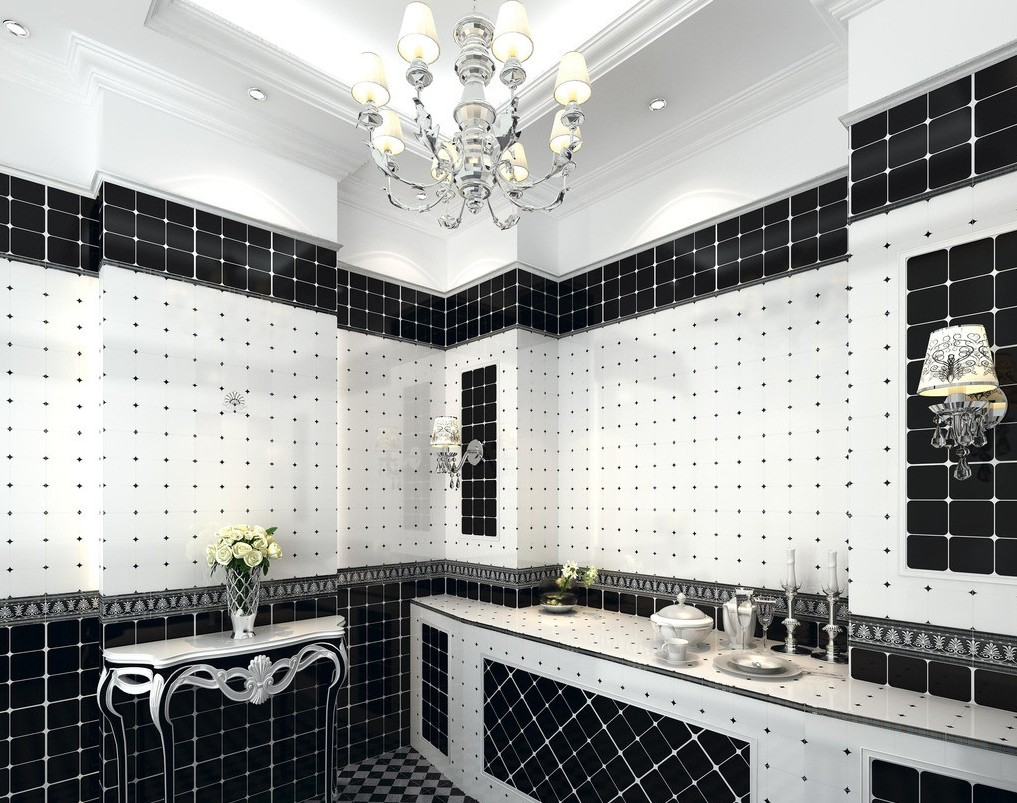 stylist and luxury kitchen wall tiles design. 10  Everywhere Black White Tiling That Will WOW You