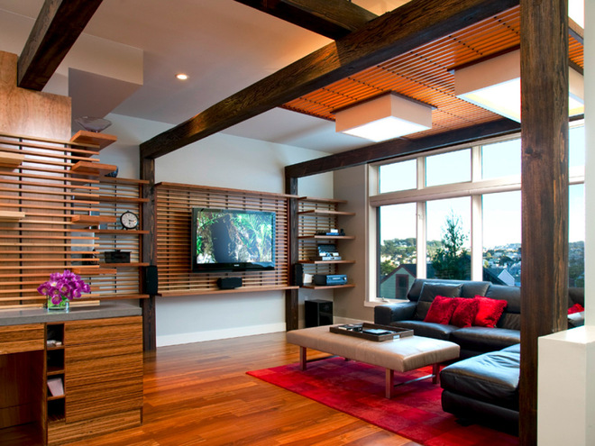 Slatted Wood Wall With Shelves