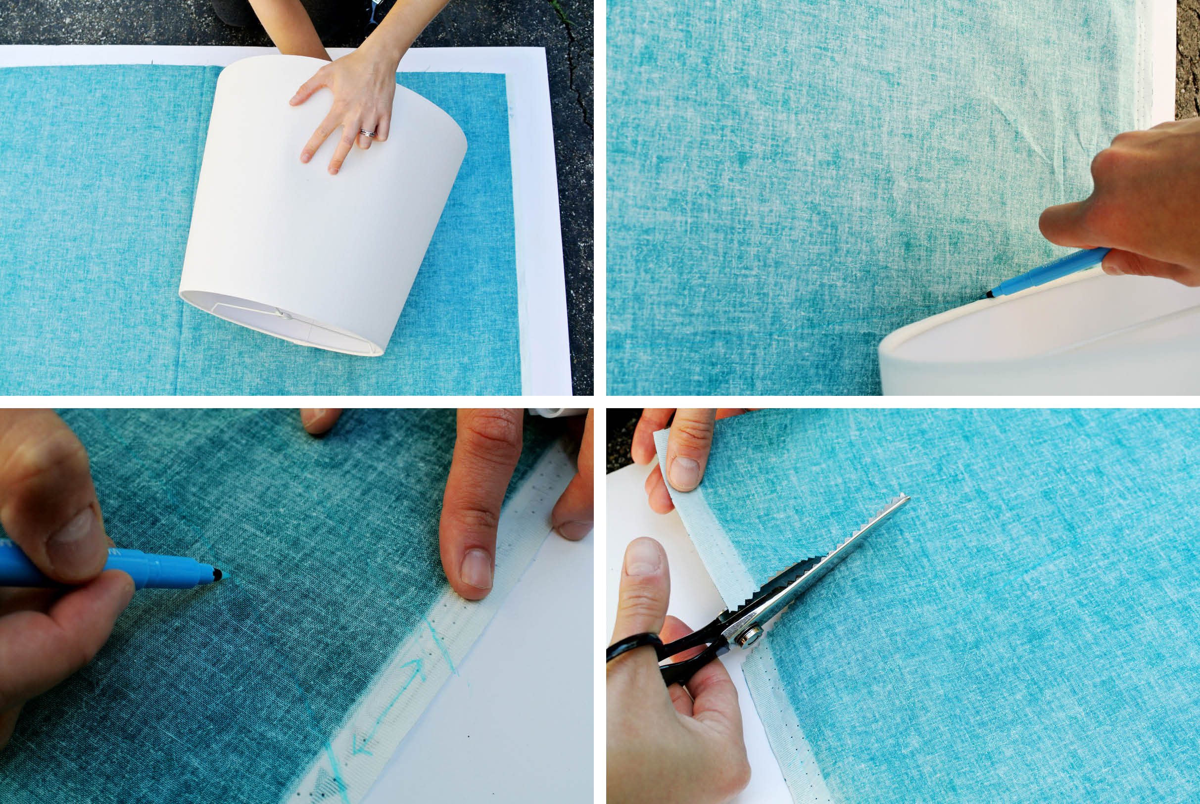 How to cover a lampshade with fabric fabric lampshade cover step 1 mozeypictures Gallery