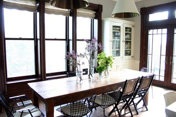 Unexpected Combinations Between Modern Chairs And Country Tables - Traditional dining table with contemporary chairs