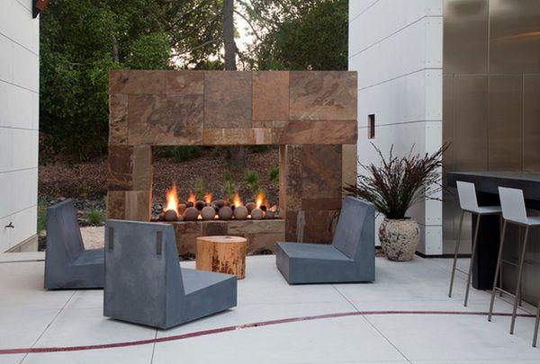 Eye-Catching, Modern Outdoor Fireplaces Turn The Patio ... on Modern Backyard Fireplace id=78378