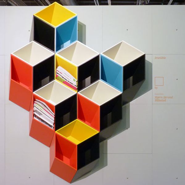 Libreria Imeuble By Bjorn Jorund Blikstad : Geometric shelves simple yet eccentric and great for