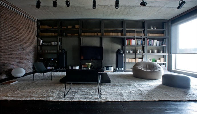 remarkable vintage industrial living room | Industrial Meets Nature In This Remarkable Loft In Kiev