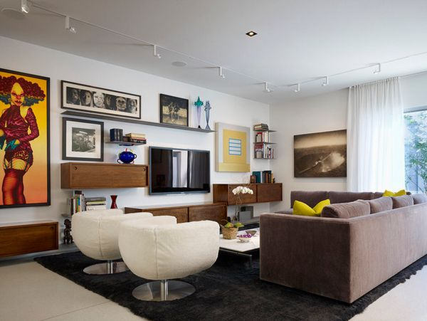 Living Room With Tv Design 20 ways to incorporate wall-mounted tvs and shelves into your decor