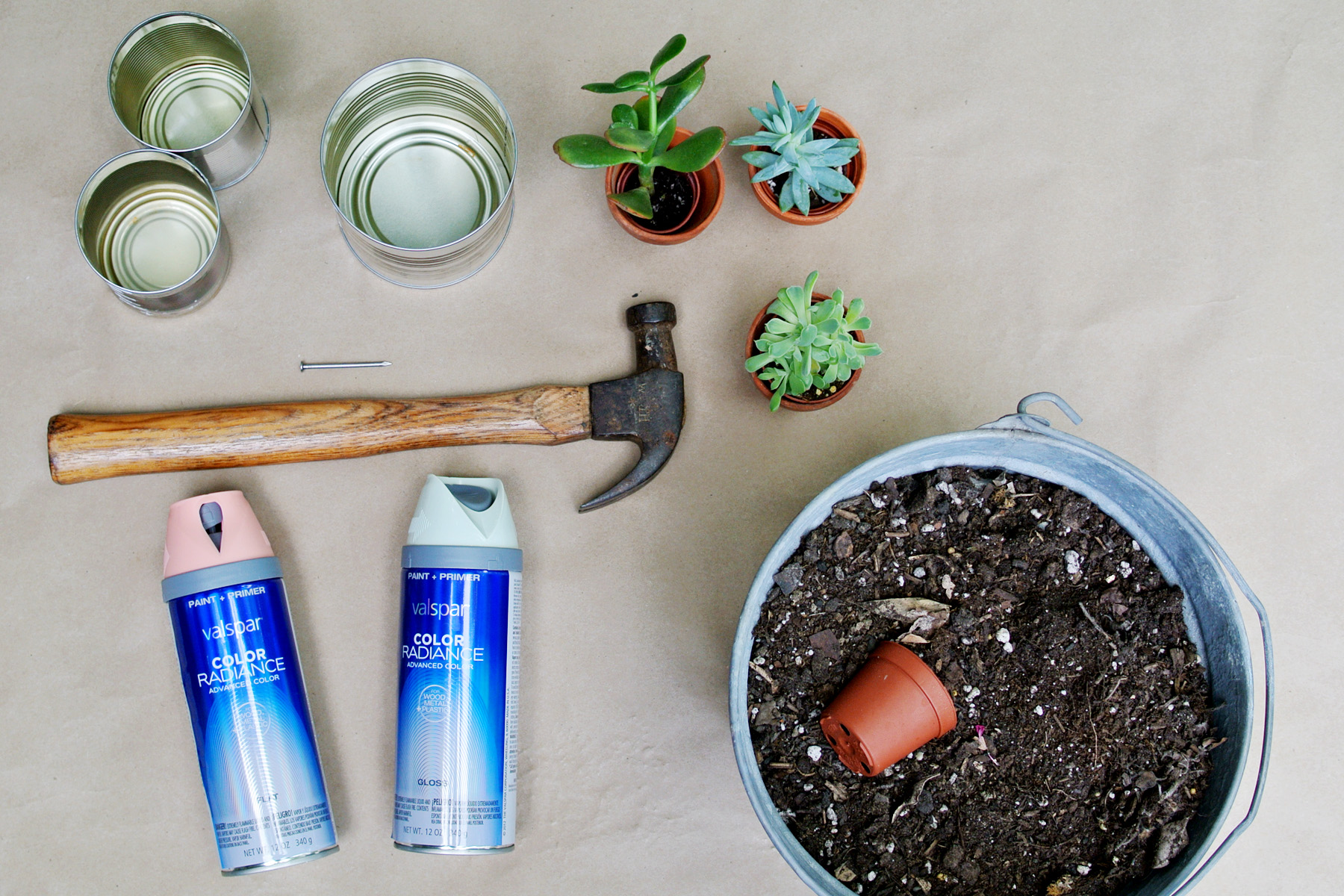 tin can planter supplies