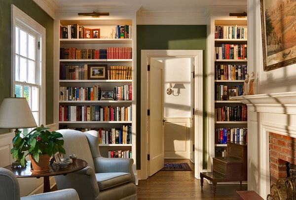 Home library inspiration built in bookcases with for Centre de divertissement ikea bookshelf