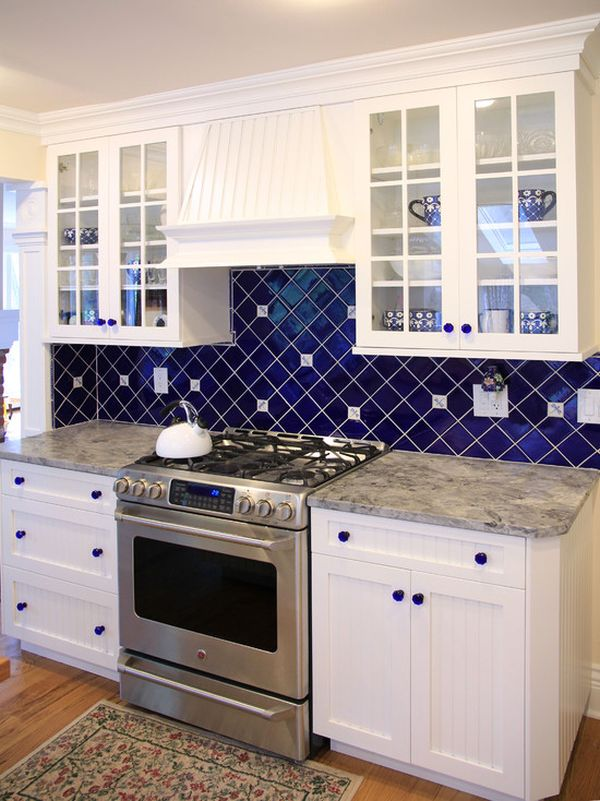 white kitchen with blue backsplash spruce up your home with color blue tiles for the 1832