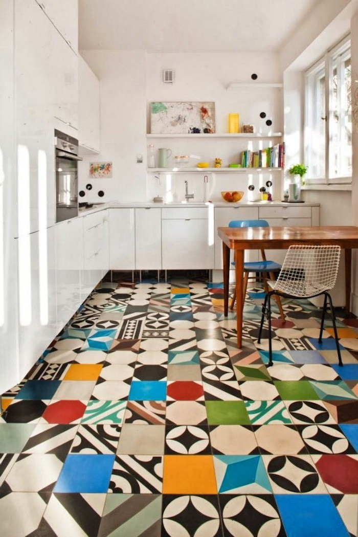 Patchwork tiles mix and match your favorite colors for a for Colourful lino flooring