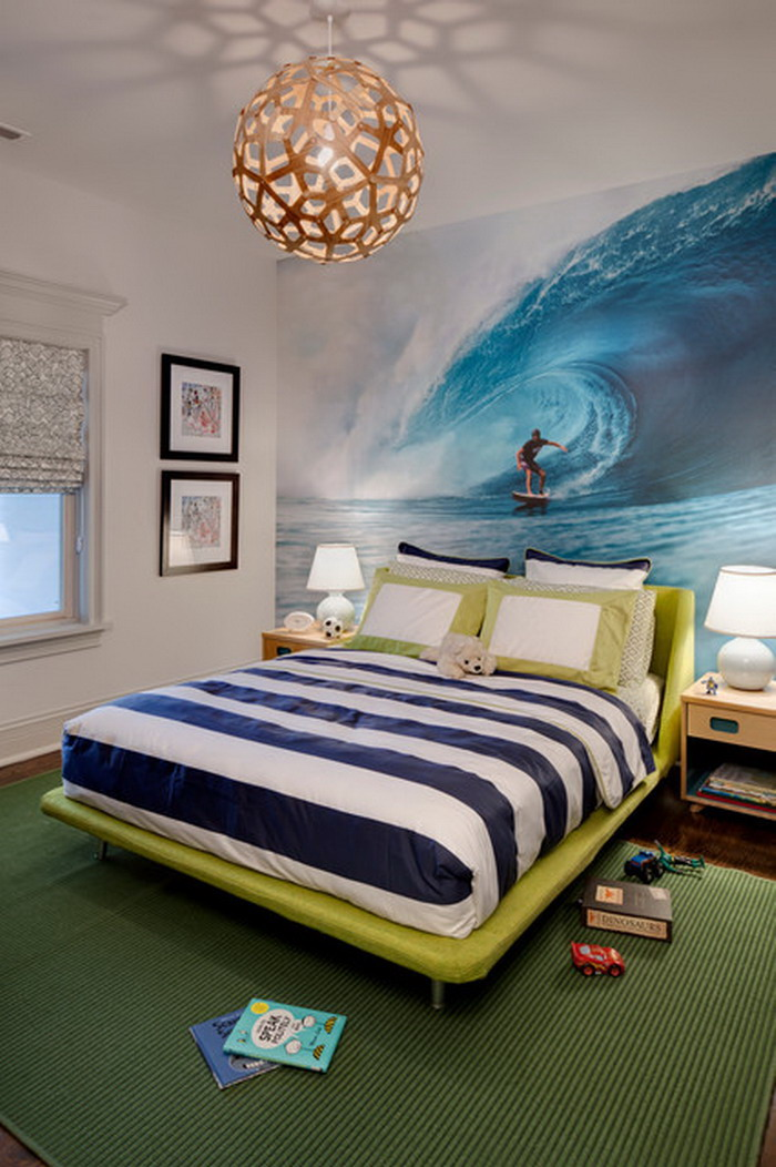 Eye catching wall d cor ideas for teen boy bedrooms for Surfboard decor for bedrooms