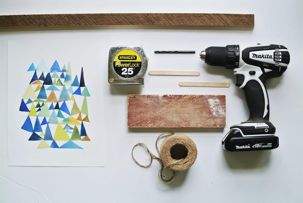 DIY wooden hanging frame supplies