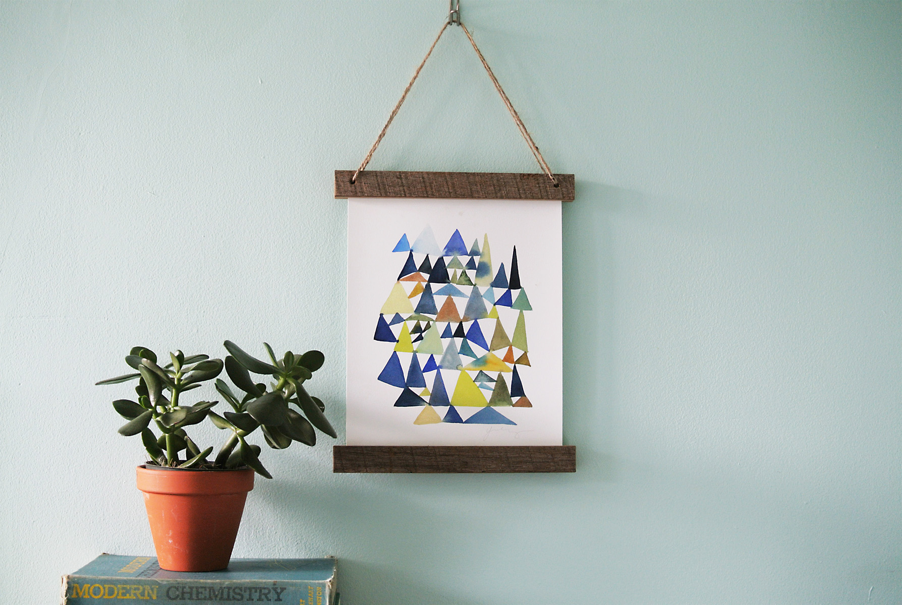 Diy wooden slat hanging frame for Diy hanging picture display