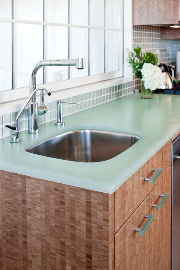 Captivating Glass Kitchen Countertops.