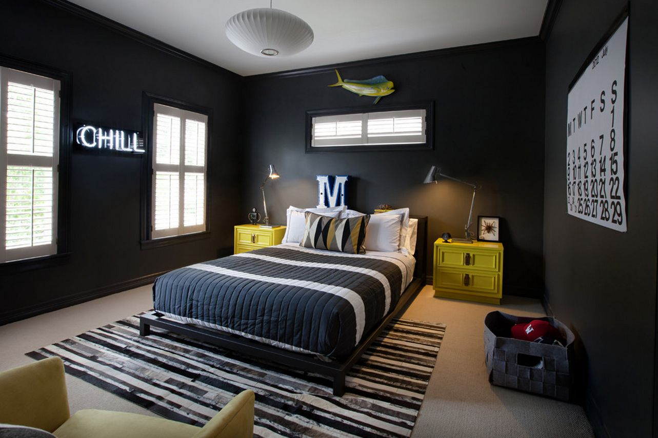 Black Painted Room Ideas eye-catching wall décor ideas for teen boy bedrooms