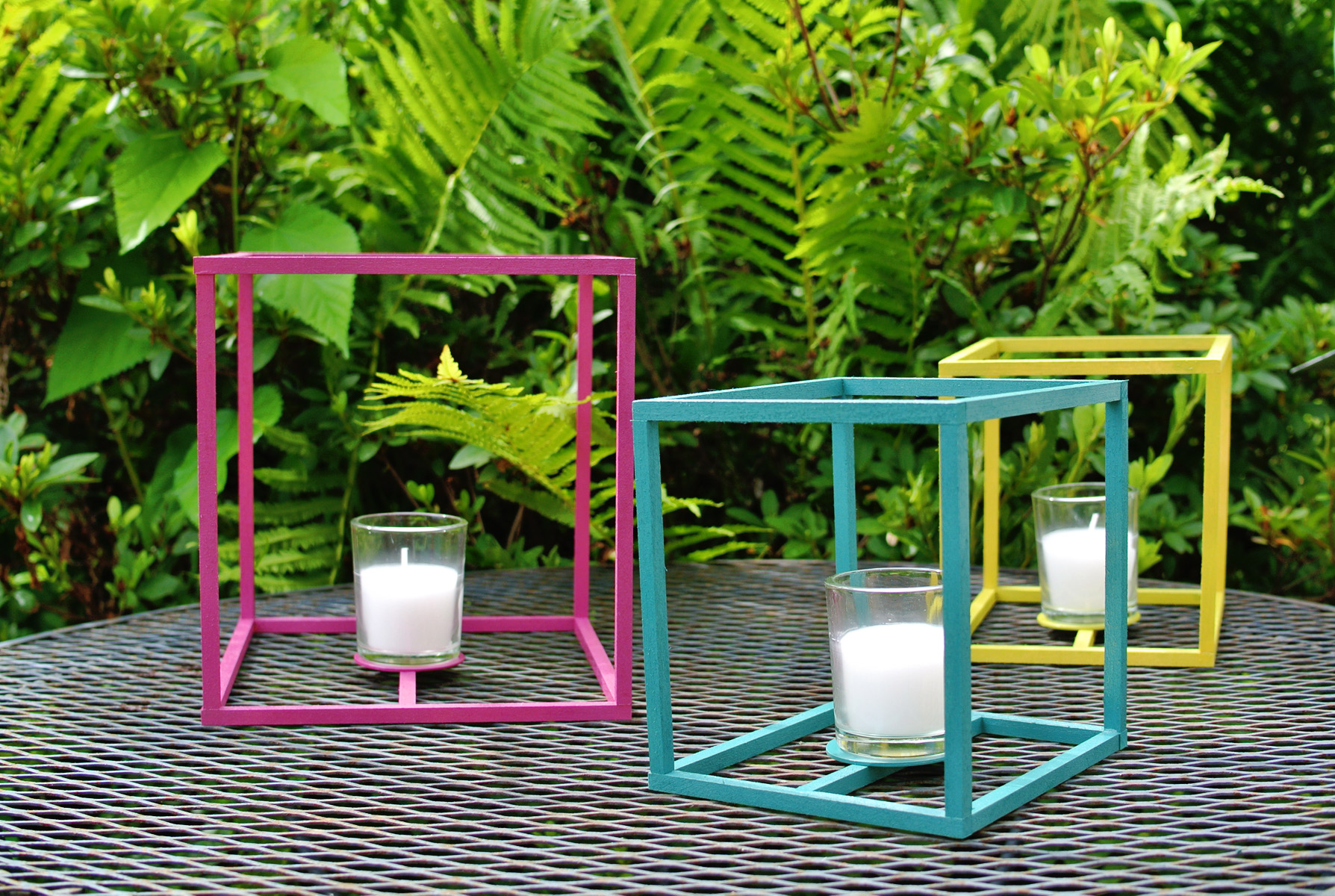 colorful outdoor cube lanterns