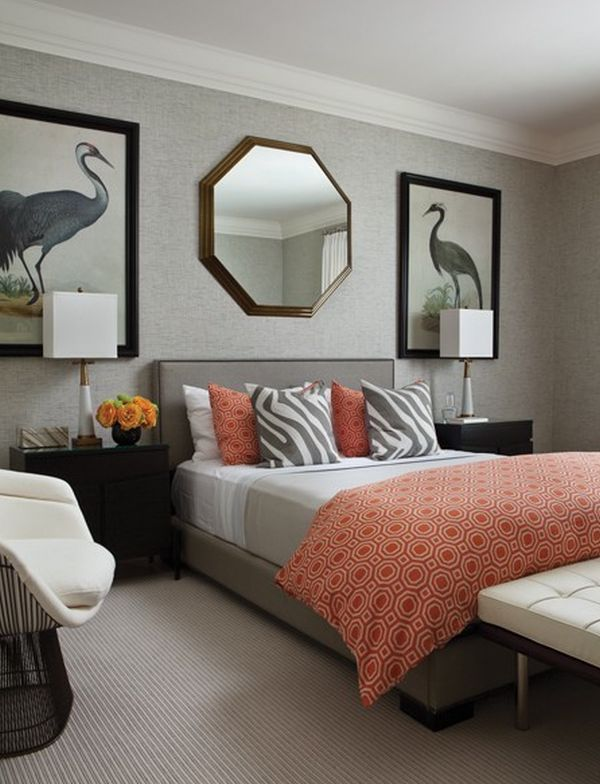 gray and coral bedroom ideas