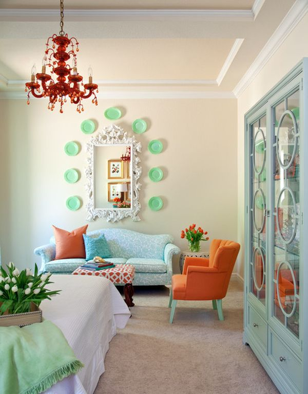 Living Room Decorating Ideas Mint Green serene coral combinations: mint, grey & cream