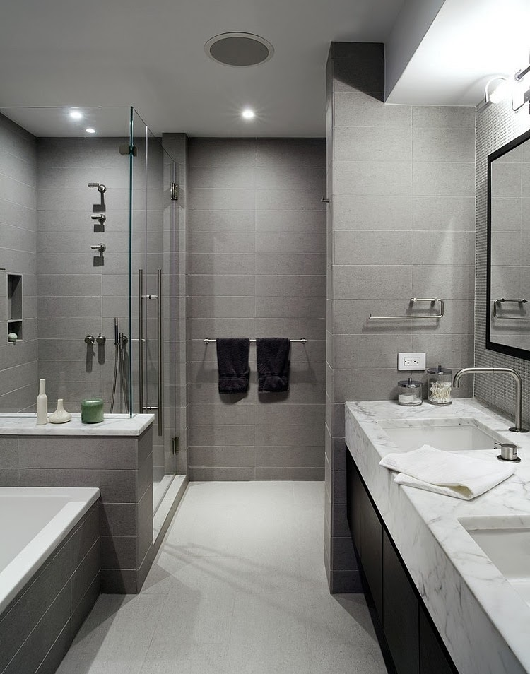 How to use gray around the house without making it look boring for Main bathroom design ideas
