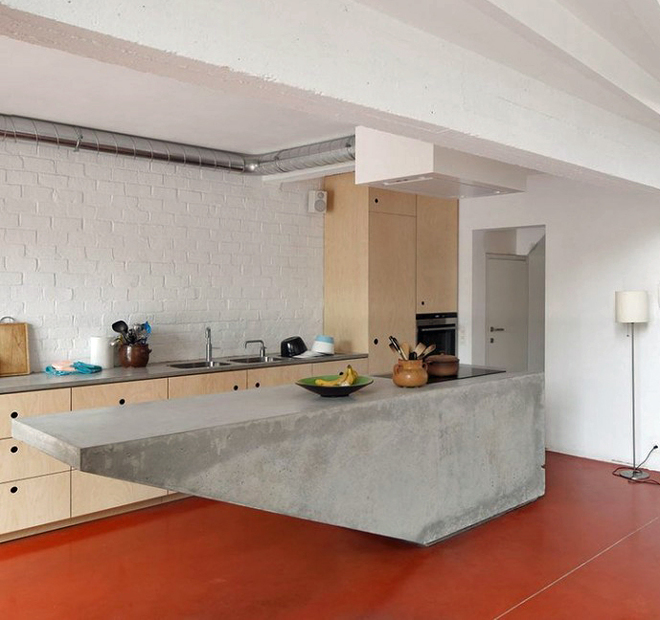 concrete island kitchen