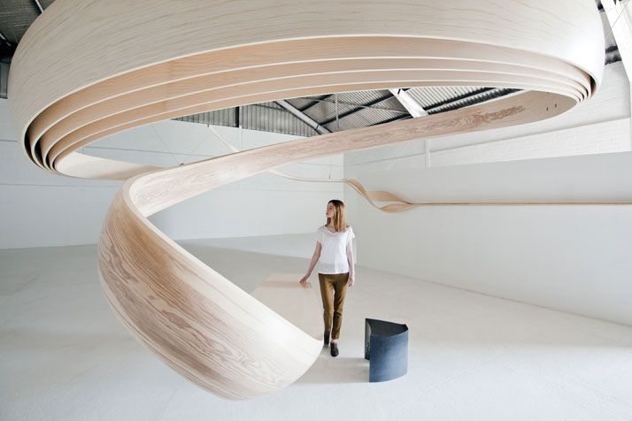 Functional With A Twist – Wooden Desk Spirals Out Of Proportions