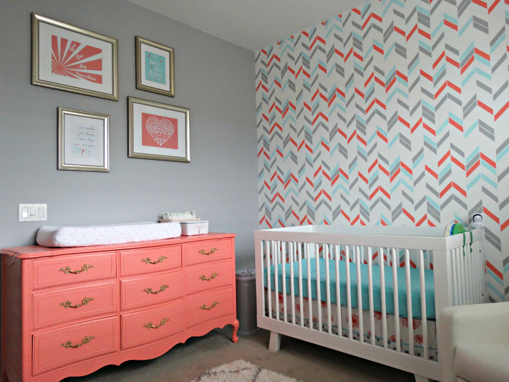 Serene Coral Combinations Mint Grey Cream - Light blue and coral bedroom
