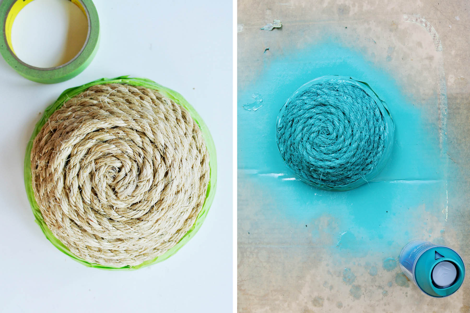paint dipped rope basket
