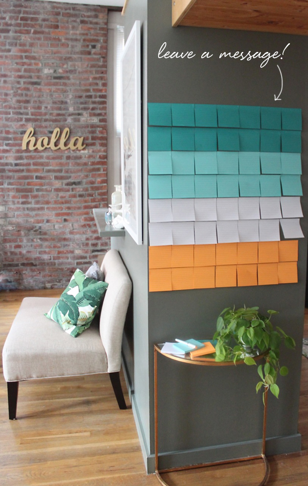 Post-It Note Guest Wall.