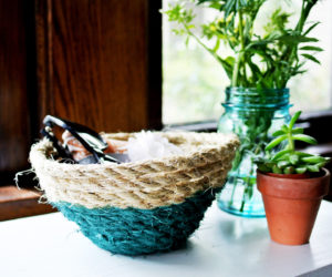 DIY Paint-Dipped Rope Basket