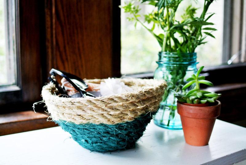 DIY Paint-Dipped Rope Basket